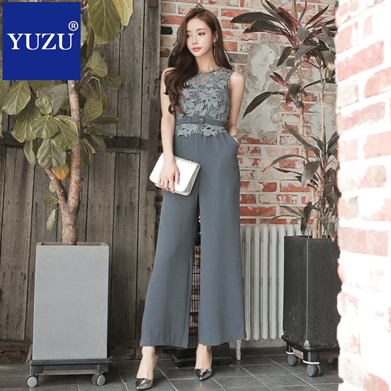 Summer   jumpsuit   sexy sleeveless belt lace women's office suit gray high waist one piece long pants wide leg   jumpsuit   for work