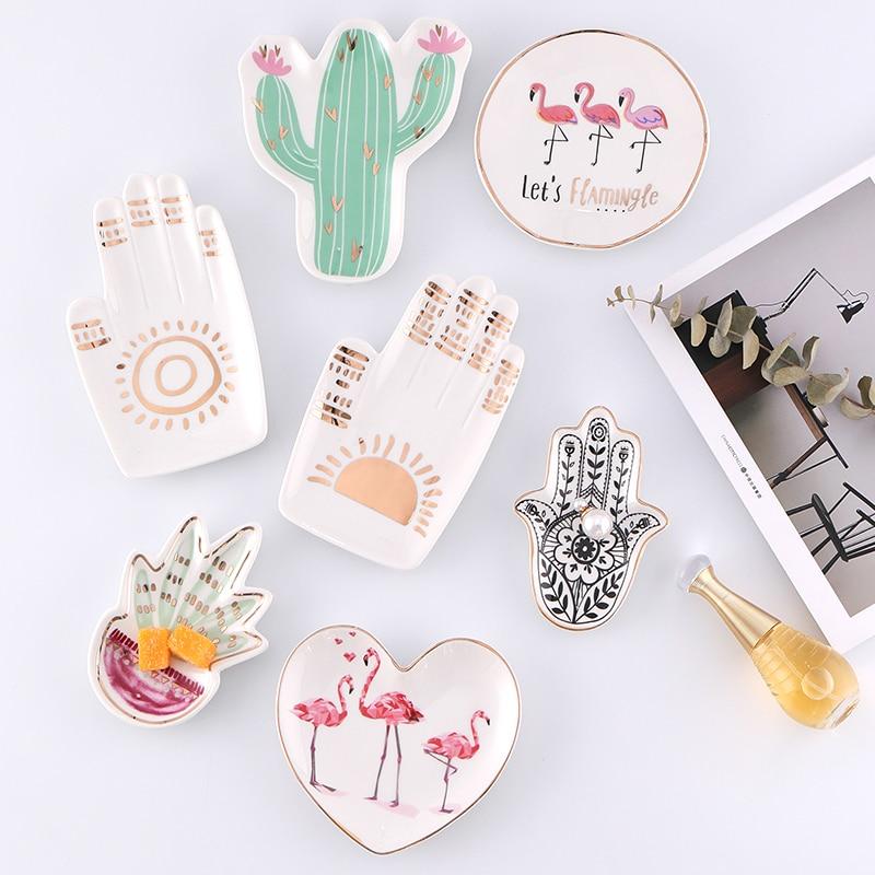 Small Hamsa Sun Hand Flamingo Cactus Pineapple Ceramic Dish Plate Decorative Jewelry Trinket Dish Necklace Storage -  - Home Page