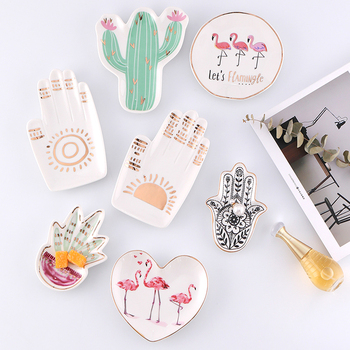 Small Hamsa Sun Hand Flamingo Cactus Pineapple Ceramic Dish Plate Decorative Jewelry Trinket Dish Necklace Storage.jpg 350x350 - accessories, tabletop-and-bar, trays-and-storage, decor - Coachella Vanity Trays