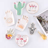 Small Hamsa Sun Hand Flamingo Cactus Pineapple Crown Ceramic Dish Plate Decorative Jewelry Trinket Dish Necklace Storage Tray