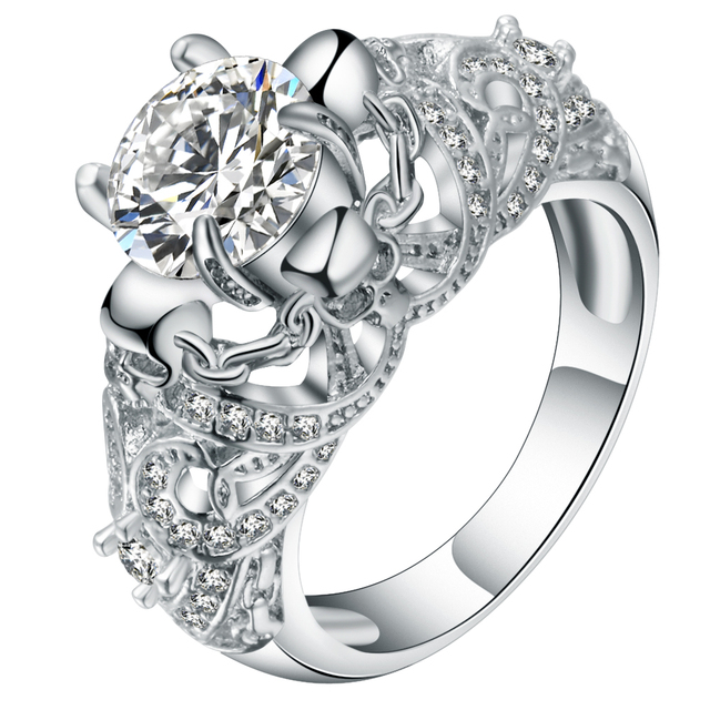 Hainon Gorgeous Clear Skull Ring Vintage Wedding Rings For Women Punk Style Silver Color Elegant Luxury