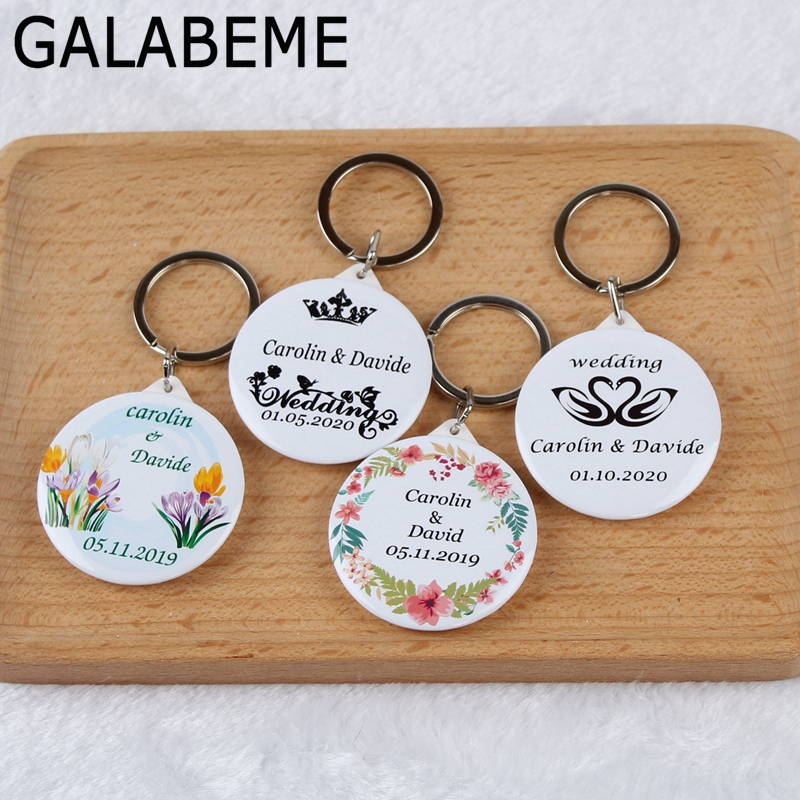50pcs Personalized names date keychain with Mirror custom logo photo wedding favors and gifts wedding gifts