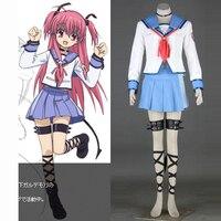 Anime Angel Beats Yui New Style Fashion Cosplay Uniform Dress Women Girl's Costumes Custom made Free Shipping