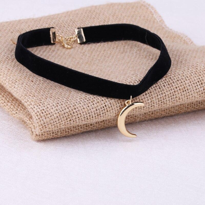 1 Pc nouveauté 3D lune pendentif noir corée velours corde Choker Collier Collier femme Collier Bijoux filles cadeau
