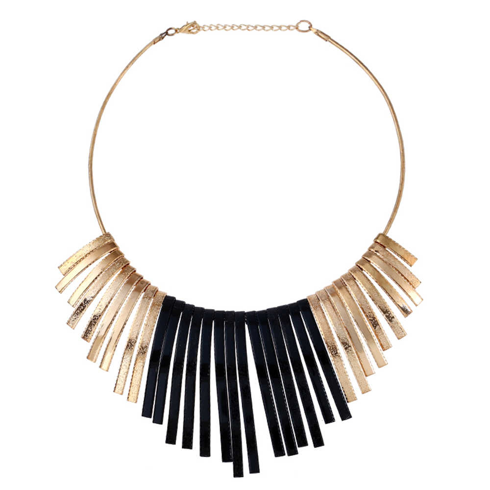 Metal Exaggerated Tassels Metal Collar Necklaces Scrub Pendants For Women Large Fashion Necklaces