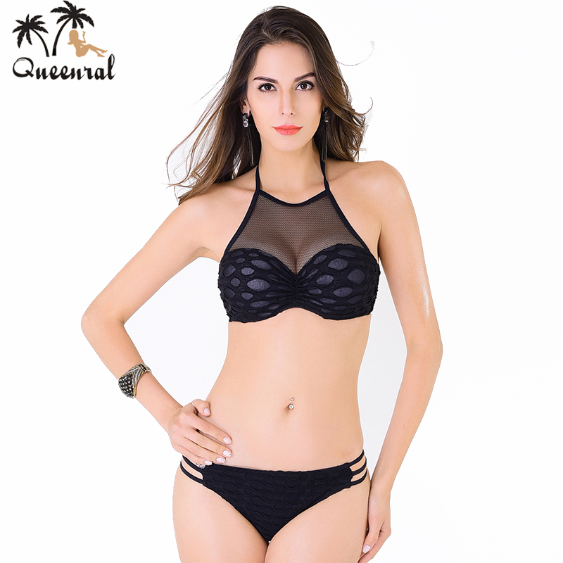 Queenral Swimwear Sexy Bra for Plus Size Women Thin Cup Brassiere Black Intimate Lingerie swimsuit