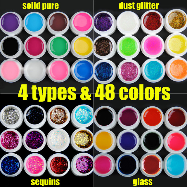 Free shipping 48 colors Solid pure & Glass & Dust glitter & Sequins 4 Types For Options Nail Art UV Builder Gel Nail Polish