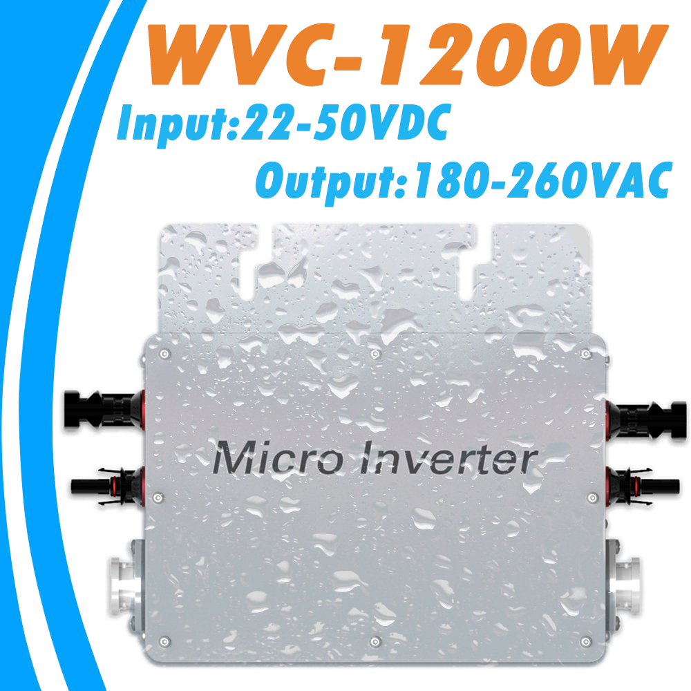 Waterproof MPPT 1200W Grid Tie Micro Inverter 22V-50VDC Input 180V-260VAC Output with Communication Function for 36V PV System 22 50v dc to ac110v or 220v waterproof 1200w grid tie mppt micro inverter with wireless communication function for 36v pv system