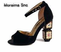 Moraima SNC Европейский ретро замшевые туфли лодочки красный черный синий в необычном стиле туфли лодочки с ремешками на лодыжках пикантная обу