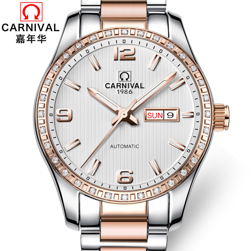 High Quality Fashion Men Watch Top brand CARNIVAL Automatic Watch Men Calendar Week Luminous Waterproof Mechanical watches Men forsining men s watch fashion watches men top quality automatic men watch factory shop free shipping fsg8051m3s6