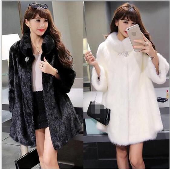 Autunno Moda 2017 Cappotto Pelliccia Visone Cappello E il Con Nuova bianco Delle Nero Beige Temperamento Donne L'inverno Lusso Di Imitazione dZrCrqxw