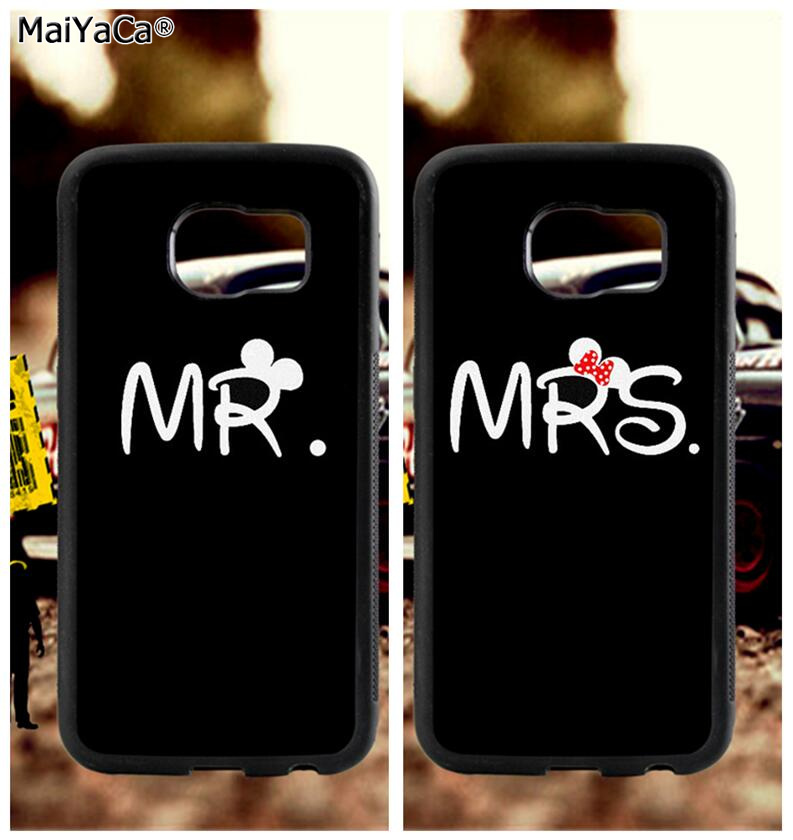 BFF mr and mrs love couple soft TPU edge phone cases for samsung s6 edge plus s7 edge s8 s9 s10 plus lite e note8 note9 cover in Half wrapped Cases from Cellphones Telecommunications