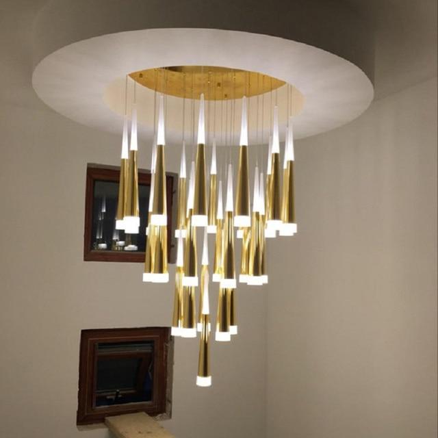 Light Lamp Crystal Led Chandelier Led Lighting Villa Indoor Stair Lighting  Stair Lights Fixtures Hotel Dining