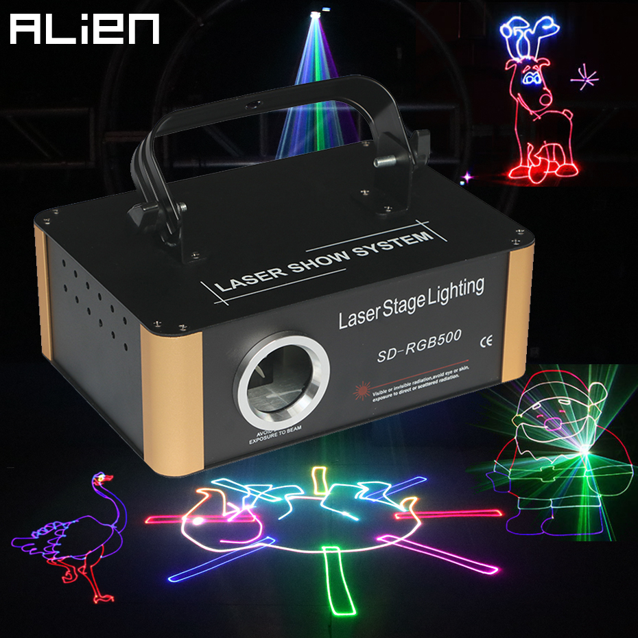 ALIENÍGENA 500mW DMX RGB Cartão SD Animação Projetor Laser PRO Efeito de Iluminação de Palco DJ Discoteca Festa Do Casamento Do Feriado Clube scanner de Bar