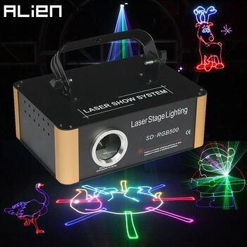 ALIEN 500mW RGB DMX SD Card animación Proyector láser PRO DJ Disco escenario iluminación efecto fiesta boda vacaciones Club Bar Scanner