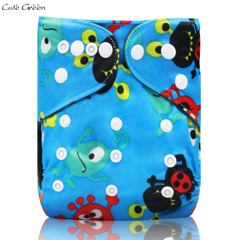 Cute Green OS Cloth Diapers Baby Waterproof PUL Bamboo Charcoal With Double Gussets Fits 3-15Kg Washable Diaper  Nappy Cover