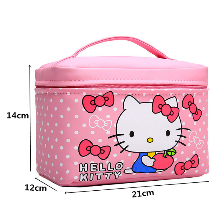 b6e4a96f94 Women Cute Hello Kitty Cosmetic Bag Cases PU Leather Beauty Vanity ...
