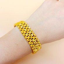 Широкий браслет с желтым золотом мужской цепочкой модный подарок