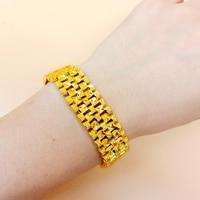 Wide Bracelet Yellow Gold Filled Mens Bracelet Chain Fashion Gift