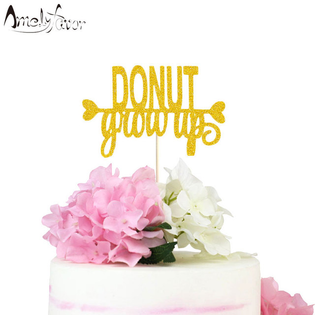Donut Grow Up Cake Topper Decor Doughnut Themed Birthday Party Decorations Supplies Girl Baby Shower