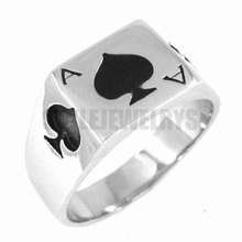 The Ace of Spades Ring Stainless Steel Jewelry Spades Motor Biker Ring Men Ring Wholesale SWR0150A