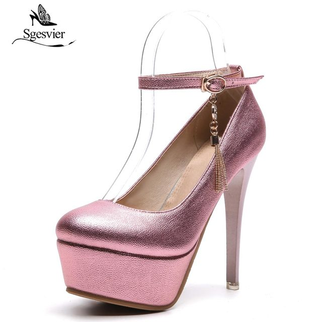 362cd2c19 Sgesvier Women Pumps Sexy 13cm Thin High Heel Women Shoes Night Club Party  Shoes Ankle Buckle Platform Plus Size 33-48 B512