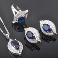 Eye Design Blue Stone Zirconia Women's 925 Sterling Silver Jewelry Sets Earrings/Pendant/Necklace/Rings Free Shipping QZ029