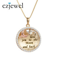 925 Sterling Silver Round Shape Antique Moon Star Circle Necklace Pendant Lovers Jewelry I Love You Word