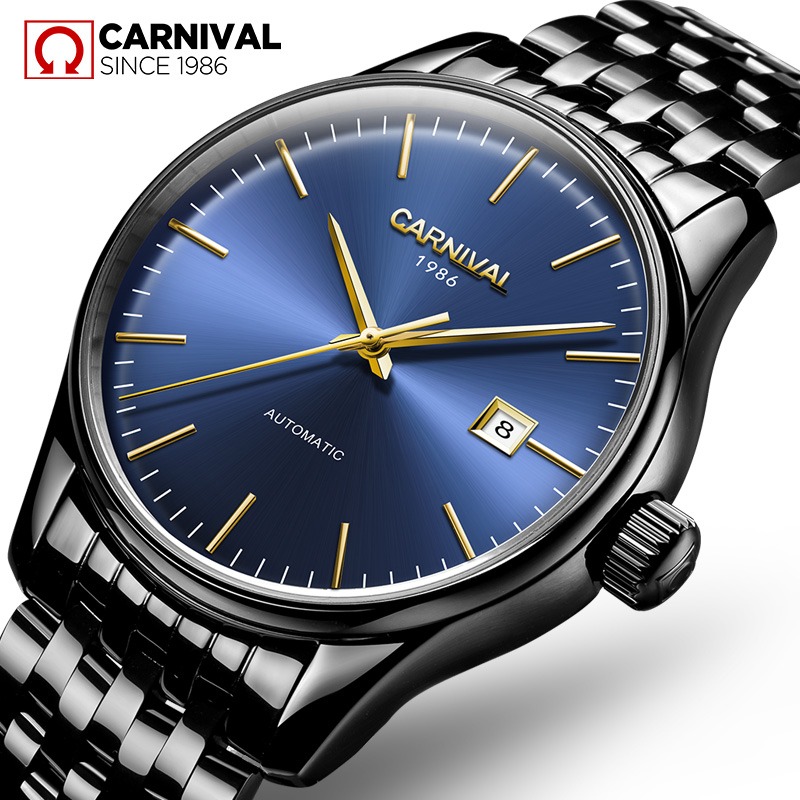 Relojes Hombre 2017 Mens Watches Top Brand Luxury CARNIVAL Simple Relogio Automatico Masculino Dress Stainless Steel Gift Clock  oem relojes hombre relogio lcd dz6217 dz7080
