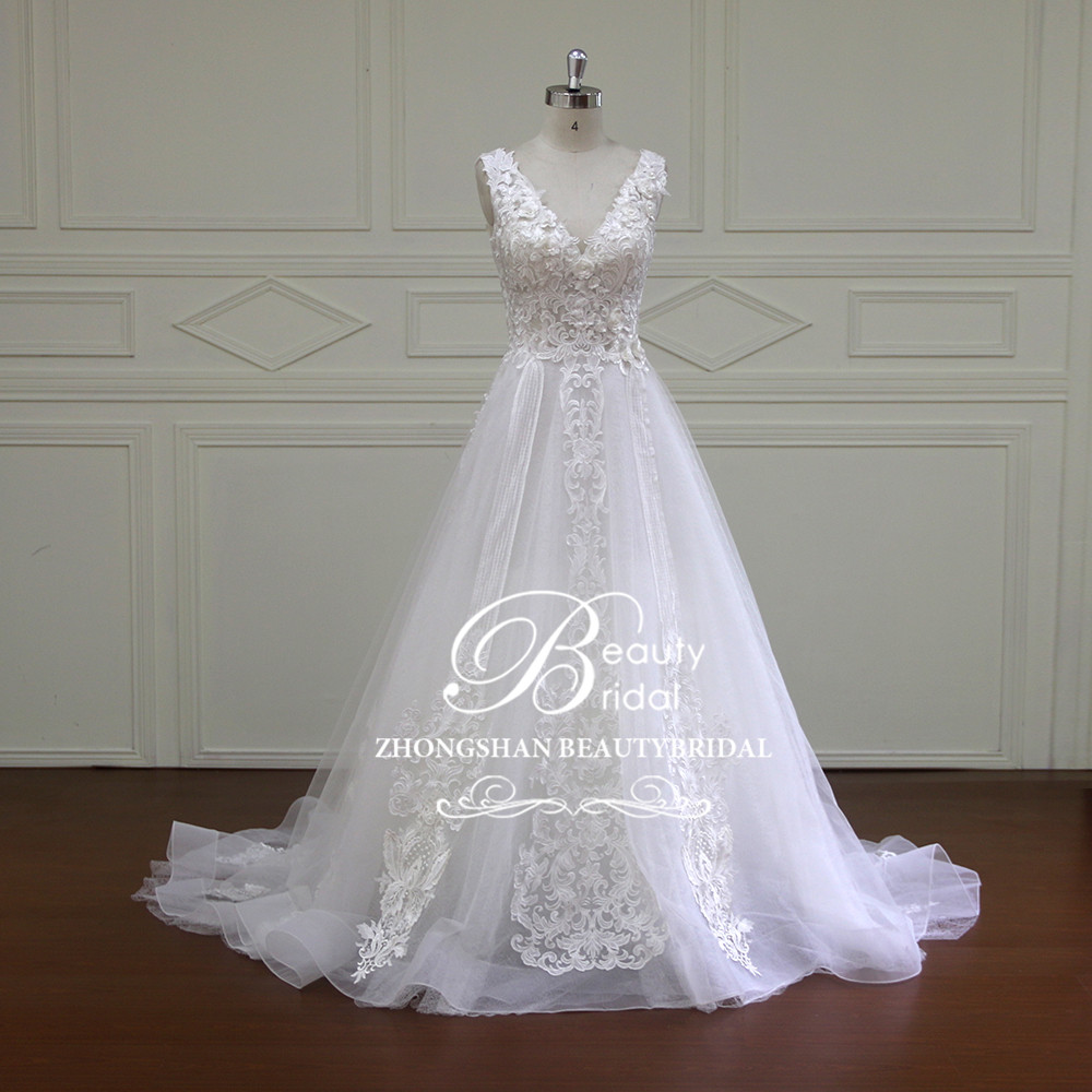 High quality Custom made A line Wedding dress 2019 V-Neck Cap Sleeve bridal gowns wedding dresses Lace robe de mariage XF16012