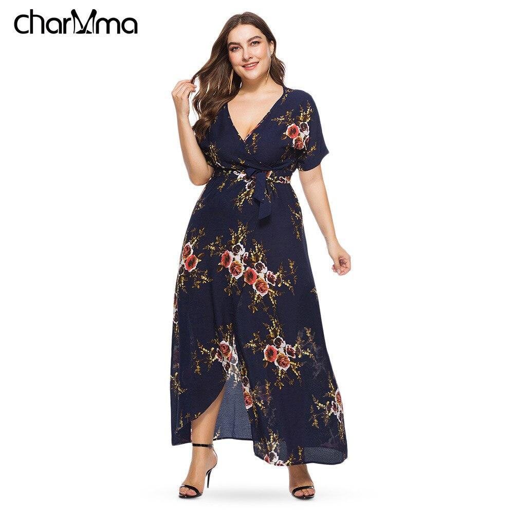 Mulheres verão Vestido Longo Floral Chiffon Solta Plus Size vestido de damas  Sexy Plunge Pescoço Vestidos de Manga Curta Robe Femme vestido e9a85fe5b849
