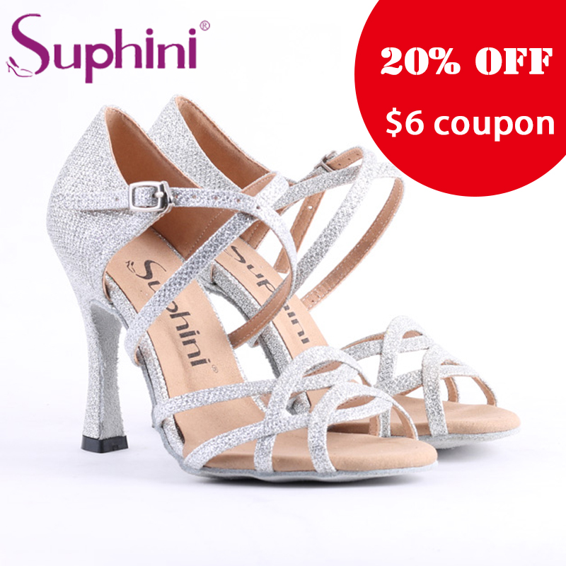 цены Free Shipping Suphini Competition Heel Salsa Latin Shoes Woman dance shoes Glitter Silver Latin Dance Shoes