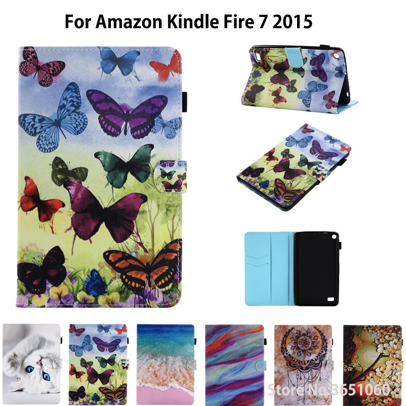 Case For Amazon Kindle Fire 7 2015 kids Funda tablet Fashion Painted PU Leather Silicone Stand Case Cover For Kindle Fire 7 inch image