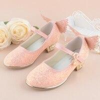 Girls Princess Shoes 2017 New Spring Summer 4 10Year Children Wedding Sandals High Heels Butterfly Dancing