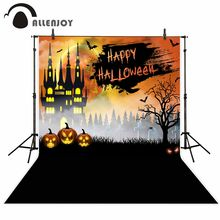 Allenjoy photography background black Graffiti bat tree Tombstone Castle Pumpkin Horror Fear Halloween photocall photo studio(China)
