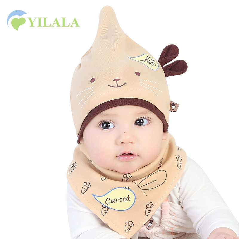 2pcs Cartoon Baby Hat Bib Set Cotton Boys Girls Hat Rabbit Ears Cute Hat +Print Bib Spring Infant Beanie 0-10M Baby Boy Clothing