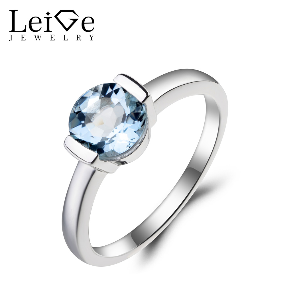 Leige Jewelry Natural Aquamarine Ring Promise Ring March Birthstone Round Cut Blue Gemstone 925 Sterling Silver Solitaire Ring