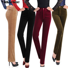 YUKIESUE Autumn Women Corduroy Pants Pantalon Mujer high Waist straight Pants Casual