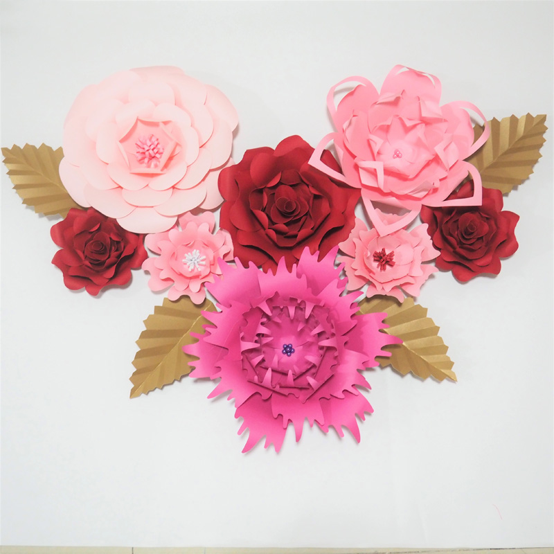 Giant Paper Flowers Wedding: 2018 Giant Paper Flowers 8PCS+4 Leaves Artificial Flower