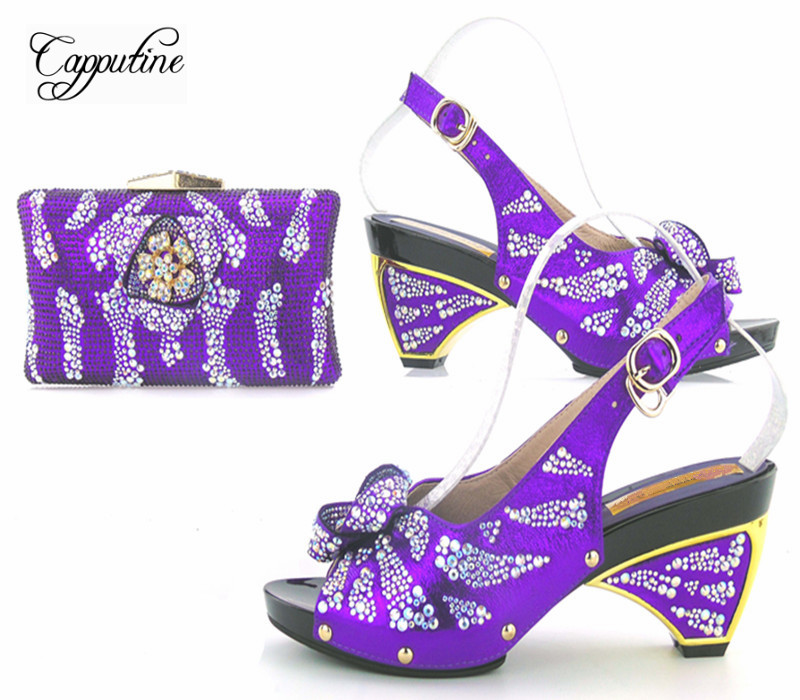 Capputin Fashion Rhinestone Royal Blue Shoes And Bag Set For Party New Design High Heels Shoes And Bag Set For Wedding Party