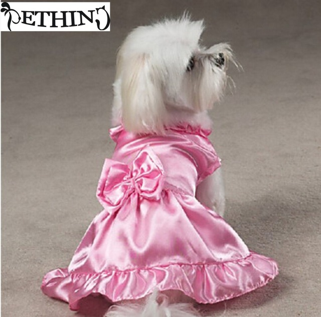 2017 Fashion Luxury Dog Wedding Dress Bows Design Pet Puppy Clothing Skirt Princess Bride