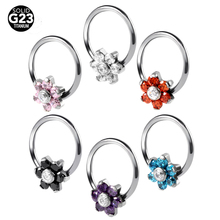 1PC G23 Titanium Flower Gem Nose Rings Ear Cartilage Rings Captive Bead Rings Crystal Piercing Nose CBR 16G Sexy Body Jewelry