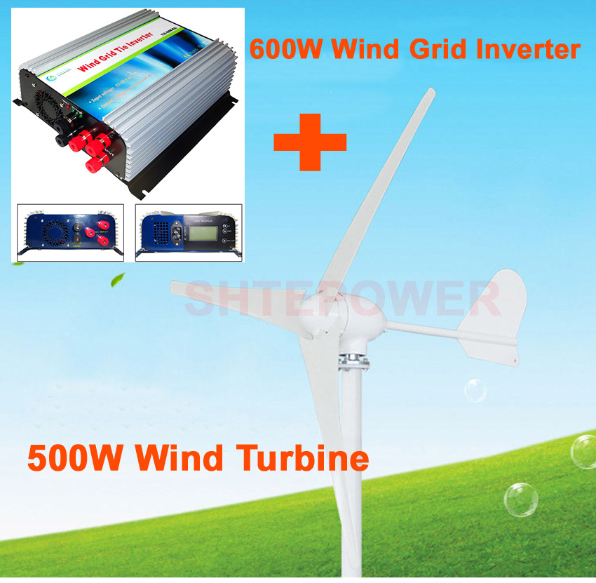 600w wind inverter with lcd display free shipping 3 phase ac 22-60 input+500w wind turbine 3 phase ac 48v 1000w 1kw wind turbine generator 3 phase ac 24v 48v 3 blade free shipping