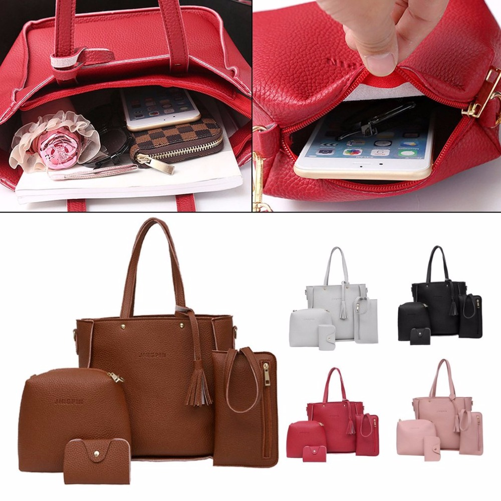 d7af6a0ce47e 4PCS SET Luxury Design Women Handbags Solid Color Soft PU Leather ...