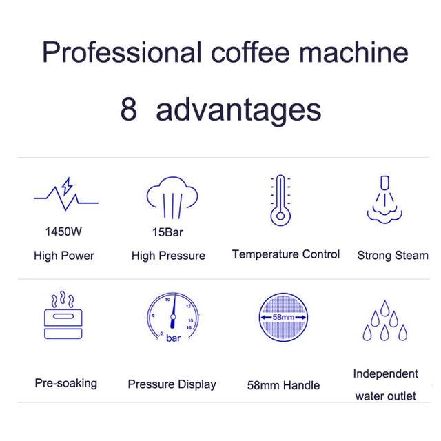 ITOP 15 Bar Italian Semi-automatic Coffee Maker Cappuccino Milk  Bubble Maker Americano Espresso Coffee Machine for Home 3