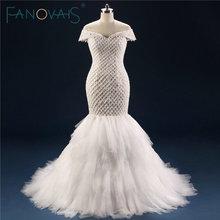 Mermaid Wedding Dresses Beaded Pearls Lace Up Luxury Wedding Gowns Vestido de novia Grid beaded tulle bridal gowns robe maree