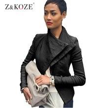 Z&KOZE Women PU Leather Jacket Autumn winter Solid Color Brithish Slim black locomotive Style Long Sleeve Stand Collar Coat