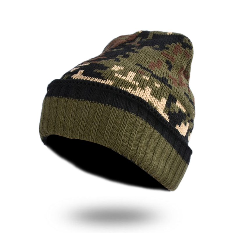 1f3112c24b0 Camouflage Beanies Skullies For Men Winter Thicken Caps Army Hunting CS  Warm Hats Knitted Camo Ski Hats Bonnet Gorros YY18018-in Skullies   Beanies  from ...