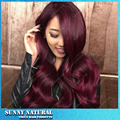 New Brazilian Hair Long Body Wave Wigs Synthetic Lace Front Wigs Red Burgundy Ombre Color Heat Resistant Synthetic Hair Wigs