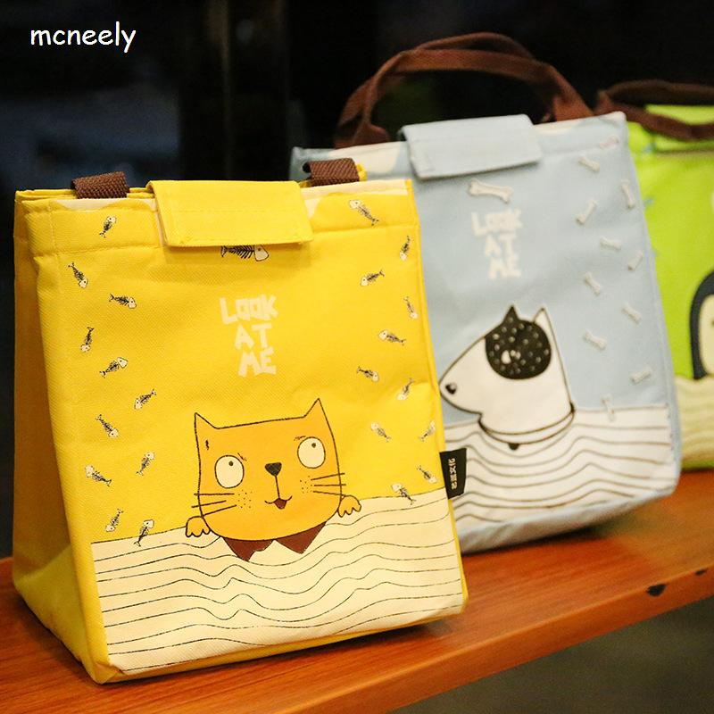 Hote Sale Waterproof Lunch Bag for Women Kids Cooler Lunch Box Bag Tote Canvas Lunch Bag Insulation Package striped tote lunch bag